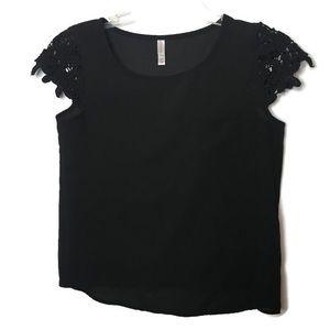 Black Lace Cap Sleeve Sheer One Pocket Shirt